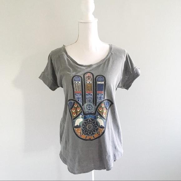Lucky Brand Tops - Lucky Lotus Hamsa Vintage Style T-Shirt